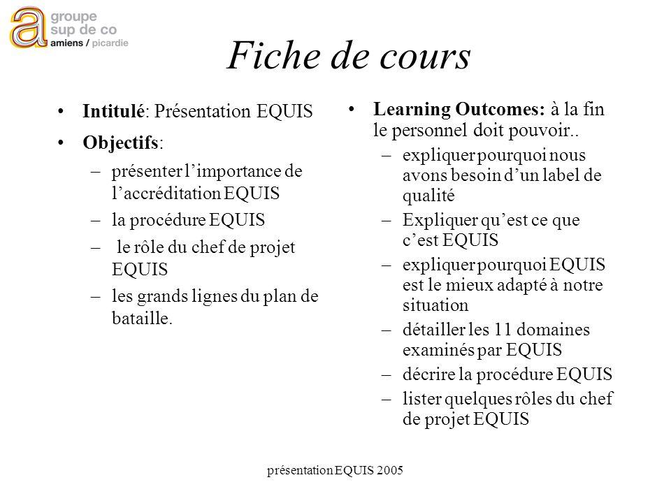 présentation EQUIS 2005 Fiche de cours Intitulé: Présentation EQUIS Objectifs: –présenter limportance de laccréditation EQUIS –la procédure EQUIS – le rôle du chef de projet EQUIS –les grands lignes du plan de bataille.