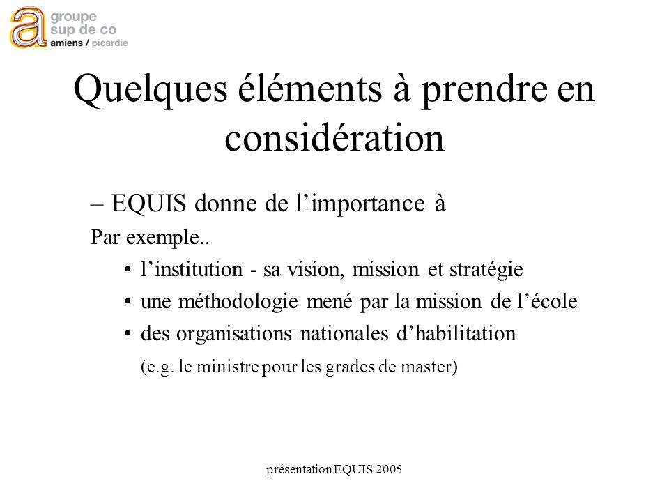 présentation EQUIS 2005 Quelques éléments à prendre en considération –EQUIS donne de limportance à Par exemple..