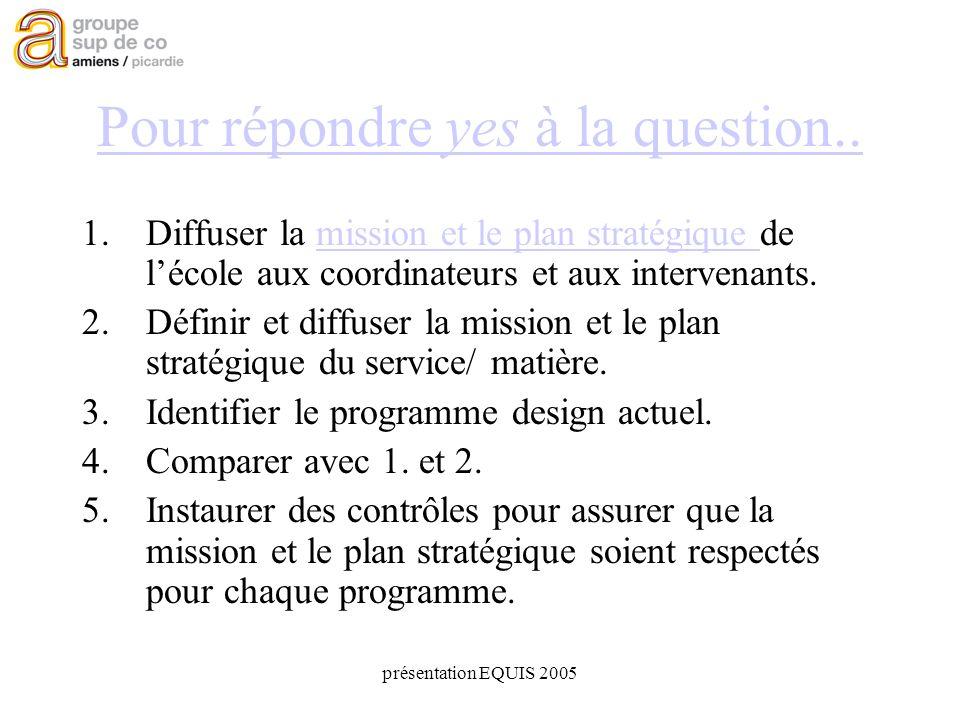présentation EQUIS 2005 Pour répondre yes à la question..
