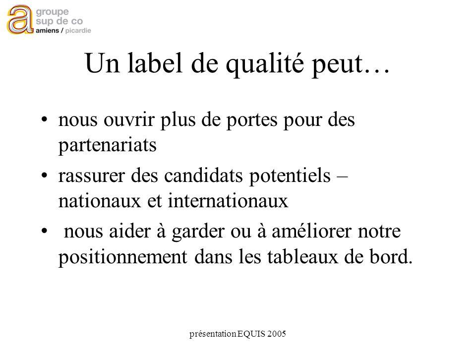 présentation EQUIS 2005 Un label de qualité peut… nous ouvrir plus de portes pour des partenariats rassurer des candidats potentiels – nationaux et internationaux nous aider à garder ou à améliorer notre positionnement dans les tableaux de bord.