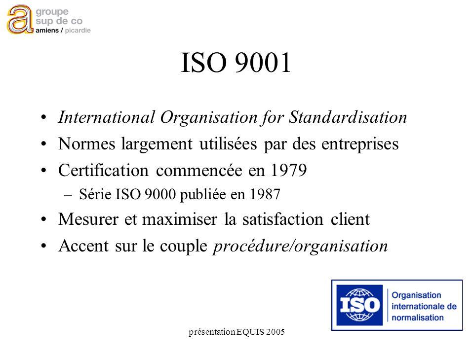 présentation EQUIS 2005 ISO 9001 International Organisation for Standardisation Normes largement utilisées par des entreprises Certification commencée en 1979 –Série ISO 9000 publiée en 1987 Mesurer et maximiser la satisfaction client Accent sur le couple procédure/organisation