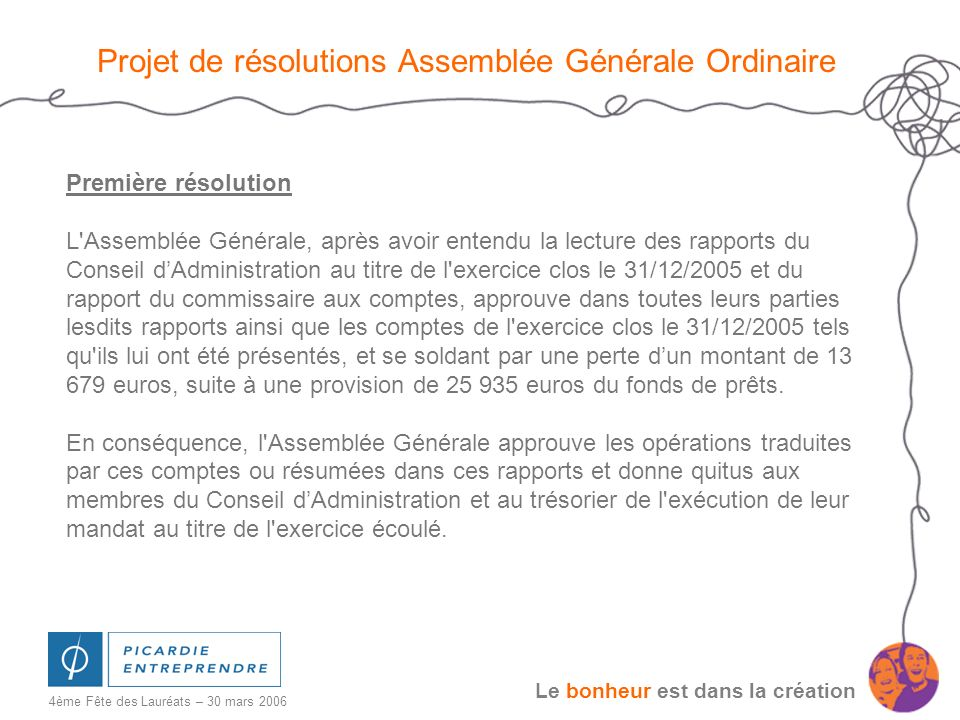 Le bonheur est dans la création 4ème Fête des Lauréats – 30 mars 2006 Projet de résolutions Assemblée Générale Ordinaire Première résolution L'Assembl