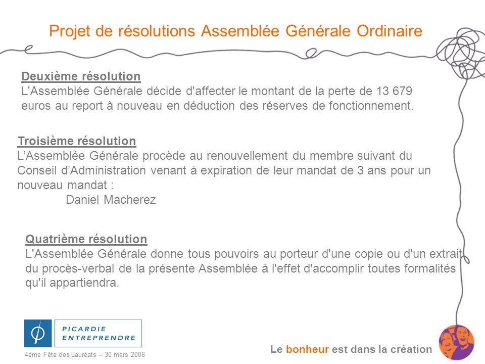 Le bonheur est dans la création 4ème Fête des Lauréats – 30 mars 2006 Projet de résolutions Assemblée Générale Ordinaire Deuxième résolution L'Assembl