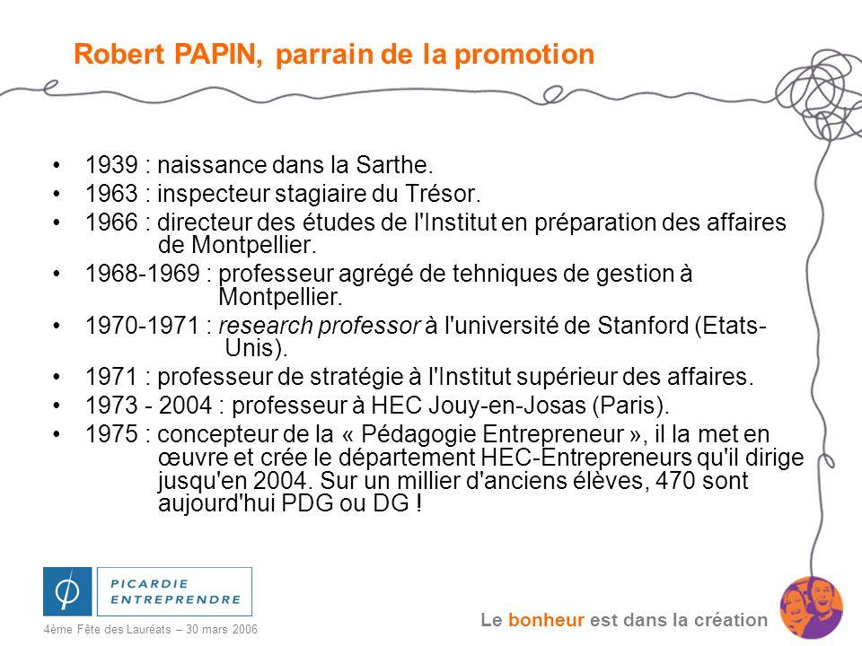 Le bonheur est dans la création 4ème Fête des Lauréats – 30 mars 2006 1939 : naissance dans la Sarthe. 1963 : inspecteur stagiaire du Trésor. 1966 : d
