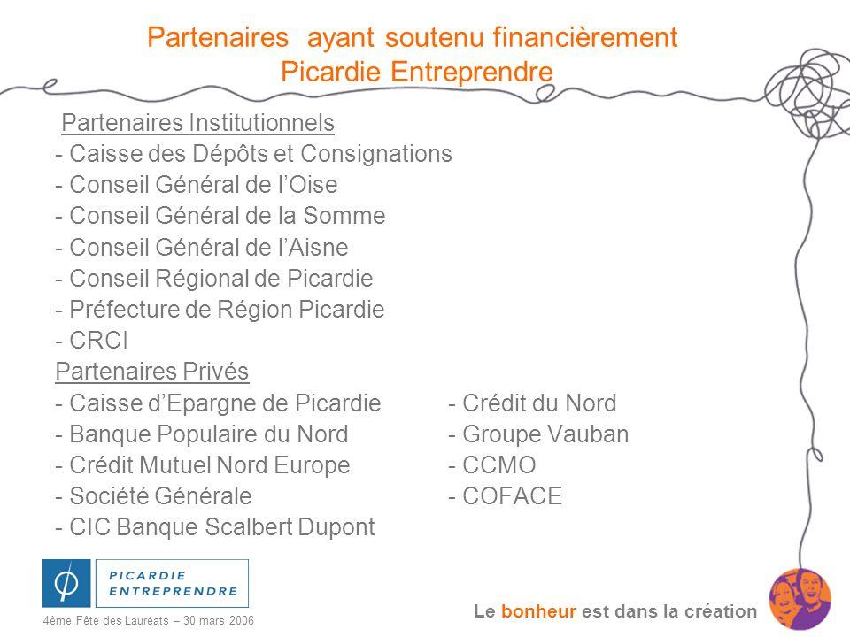 Le bonheur est dans la création 4ème Fête des Lauréats – 30 mars 2006 Partenaires ayant soutenu financièrement Picardie Entreprendre Partenaires Insti