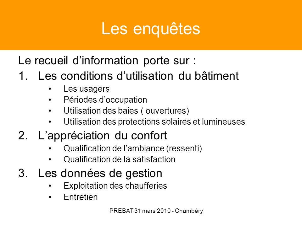 PREBAT 31 mars 2010 - Chambéry Diagramme des flux (Sankey) Exemple chaudière gaz mixe et installation solaire Apports internes Apports solaires Bch Pertes systèmes chauffage - ECS Pertes parois (y/c émetteurs) Ubat.