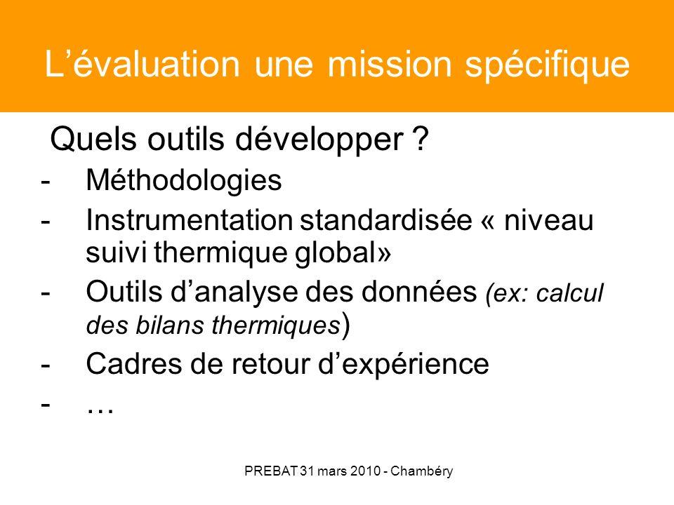 PREBAT 31 mars 2010 - Chambéry Lévaluation une mission spécifique Quels outils développer ? -Méthodologies -Instrumentation standardisée « niveau suiv