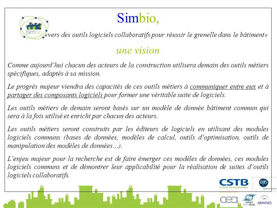 Simbio, «vers des outils logiciels collaboratifs pour réussir le grenelle dans le bâtiment» une vision Comme aujourdhui chacun des acteurs de la construction utilisera demain des outils métiers spécifiques, adaptés à sa mission.