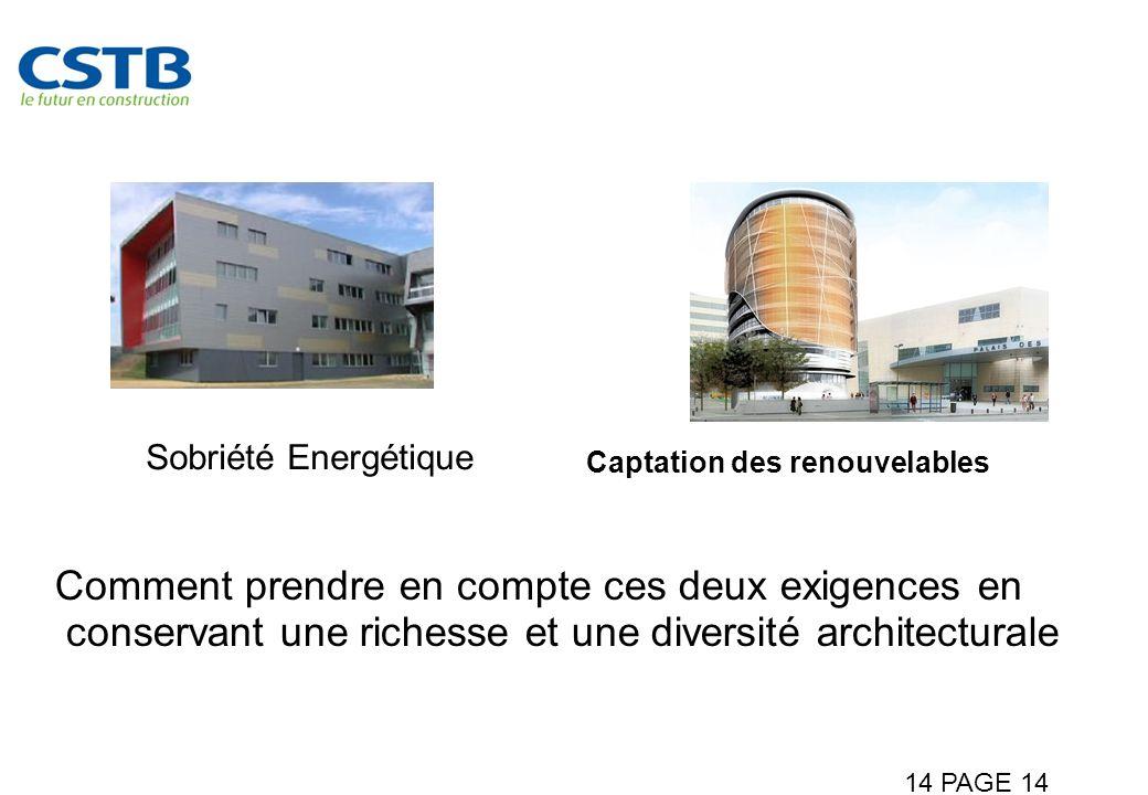 14 PAGE 14 Assurer une bonne intégration architecturale et urbaine Captation des renouvelables Sobriété Energétique Comment prendre en compte ces deux exigences en conservant une richesse et une diversité architecturale