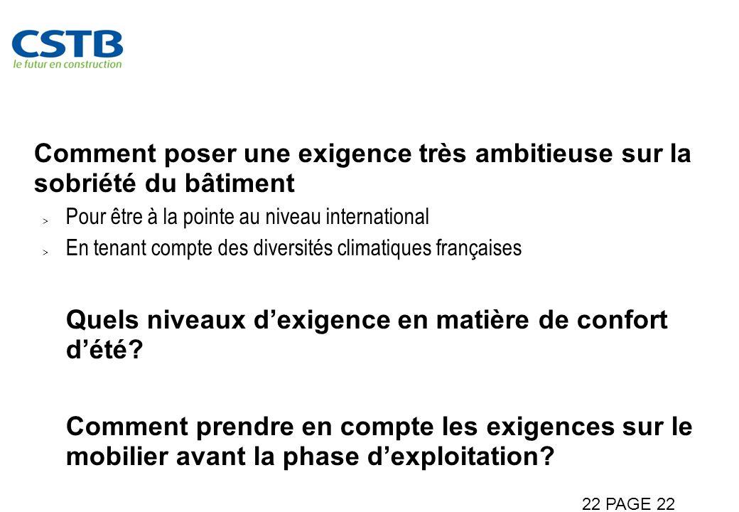 Des questions communes Comment poser une exigence très ambitieuse sur la sobriété du bâtiment Pour être à la pointe au niveau international En tenant compte des diversités climatiques françaises Quels niveaux dexigence en matière de confort dété.