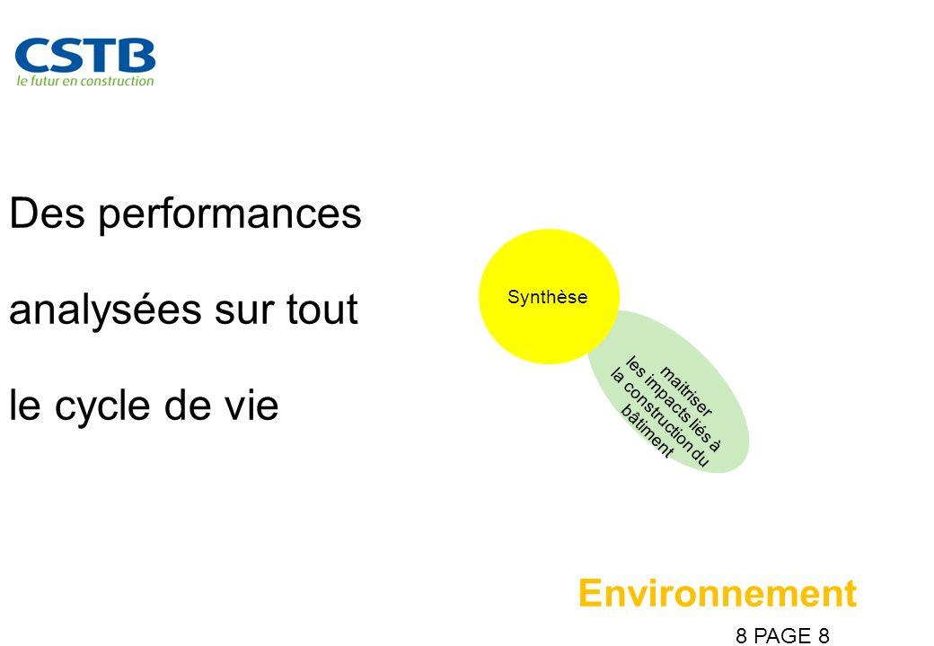 8 PAGE 8 Des performances analysées sur tout le cycle de vie maitriser les impacts liés à la construction du bâtiment Synthèse Environnement