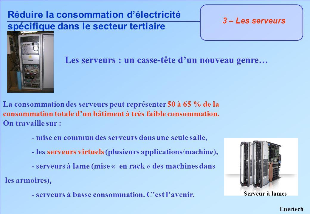 3 – Les serveurs Réduire la consommation délectricité spécifique dans le secteur tertiaire Les serveurs : un casse-tête dun nouveau genre… La consomma