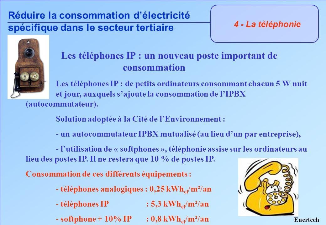 4 - La téléphonie Réduire la consommation délectricité spécifique dans le secteur tertiaire Les téléphones IP : de petits ordinateurs consommant chacu