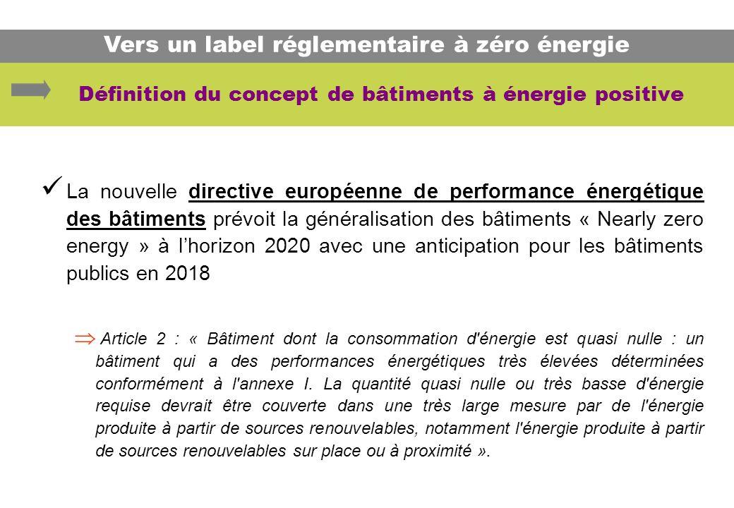 La nouvelle directive européenne de performance énergétique des bâtiments prévoit la généralisation des bâtiments « Nearly zero energy » à lhorizon 20