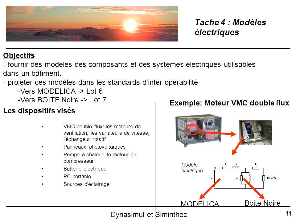 11 Dynasimul et Siminthec Tache 4 : Modèles électriques VMC double flux: les moteurs de ventilation, les variateurs de vitesse, l'échangeur rotatif Pa