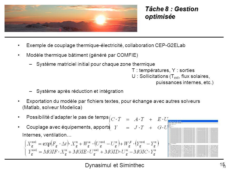 15 Dynasimul et Siminthec Tâche 8 : Gestion optimisée Exemple de couplage thermique-électricité, collaboration CEP-G2ELab Modèle thermique bâtiment (g