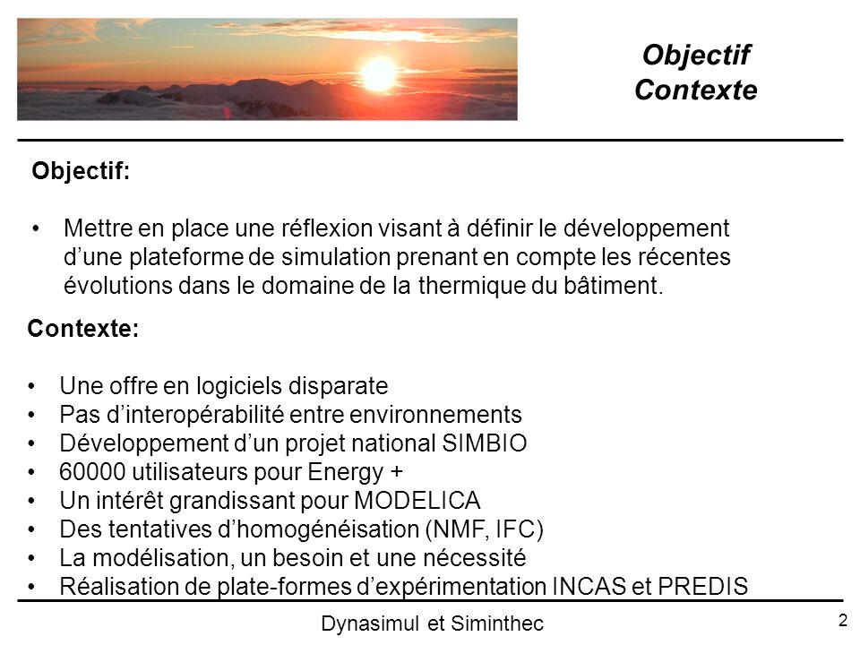 2 Dynasimul et Siminthec Objectif Contexte Objectif: Mettre en place une réflexion visant à définir le développement dune plateforme de simulation pre