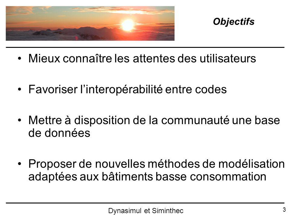 3 Dynasimul et Siminthec Mieux connaître les attentes des utilisateurs Favoriser linteropérabilité entre codes Mettre à disposition de la communauté u