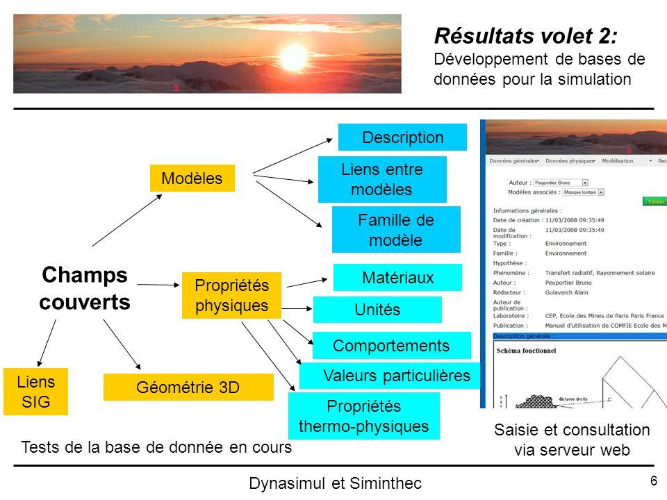 6 Dynasimul et Siminthec Résultats volet 2: Développement de bases de données pour la simulation Champs couverts Modèles Géométrie 3D Propriétés physi