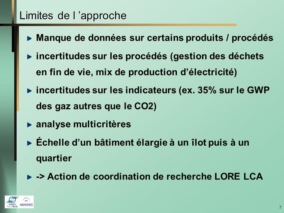 7 Limites de l approche Manque de données sur certains produits / procédés incertitudes sur les procédés (gestion des déchets en fin de vie, mix de production délectricité) incertitudes sur les indicateurs (ex.