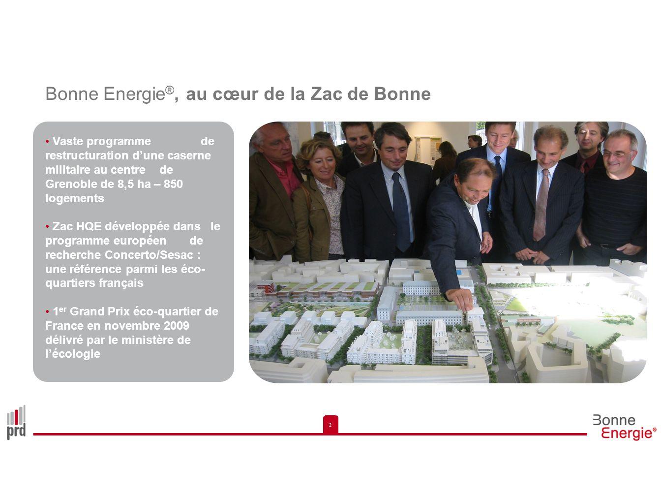 2 2 Bonne Energie ®, au cœur de la Zac de Bonne Vaste programme de restructuration dune caserne militaire au centre de Grenoble de 8,5 ha – 850 logeme