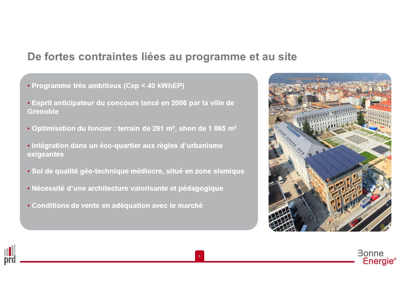 3 3 De fortes contraintes liées au programme et au site Programme très ambitieux (Cep < 40 kWhEP) Esprit anticipateur du concours lancé en 2006 par la