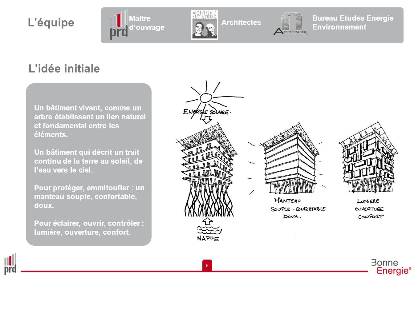 5 5 Lidée initiale Un bâtiment vivant, comme un arbre établissant un lien naturel et fondamental entre les éléments. Un bâtiment qui décrit un trait c