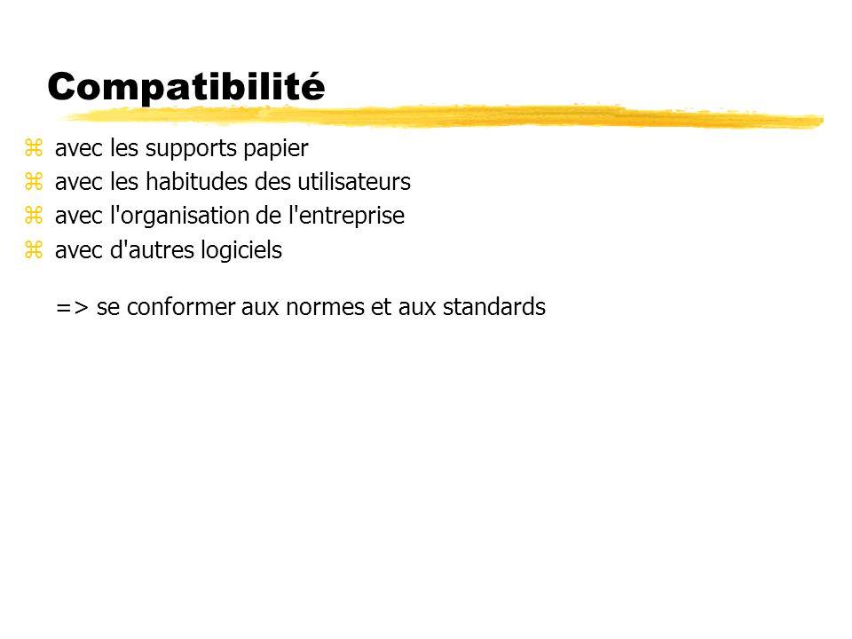 Compatibilité zavec les supports papier zavec les habitudes des utilisateurs zavec l organisation de l entreprise zavec d autres logiciels => se conformer aux normes et aux standards