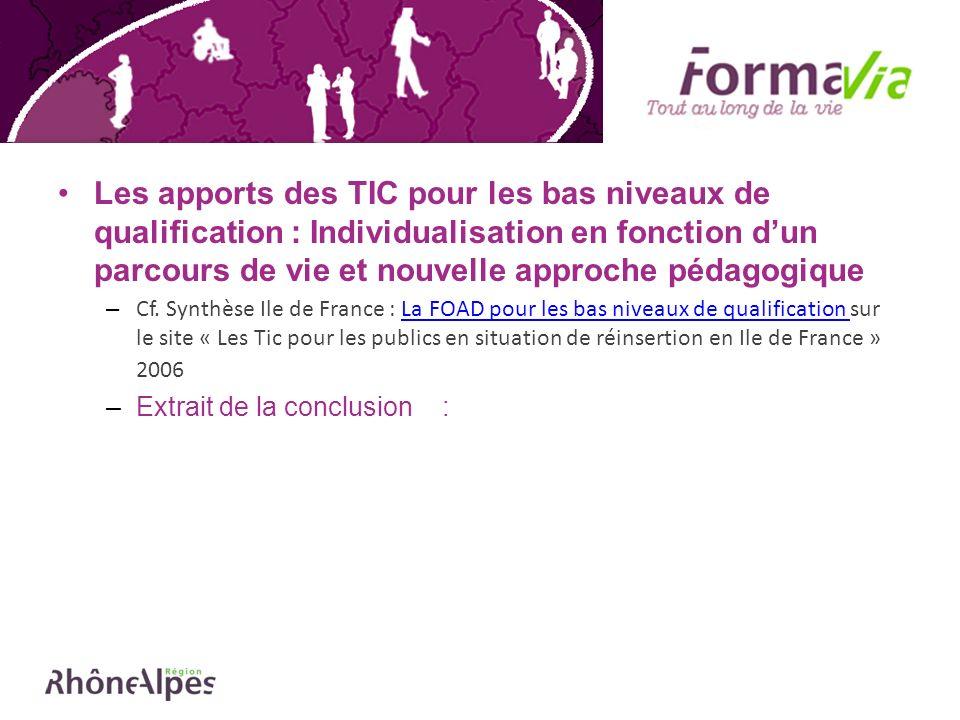 Les apports des TIC pour les bas niveaux de qualification : Individualisation en fonction dun parcours de vie et nouvelle approche pédagogique – Cf.