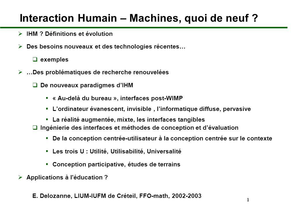 1 Interaction Humain – Machines, quoi de neuf ? IHM ? Définitions et évolution Des besoins nouveaux et des technologies récentes… exemples …Des problé