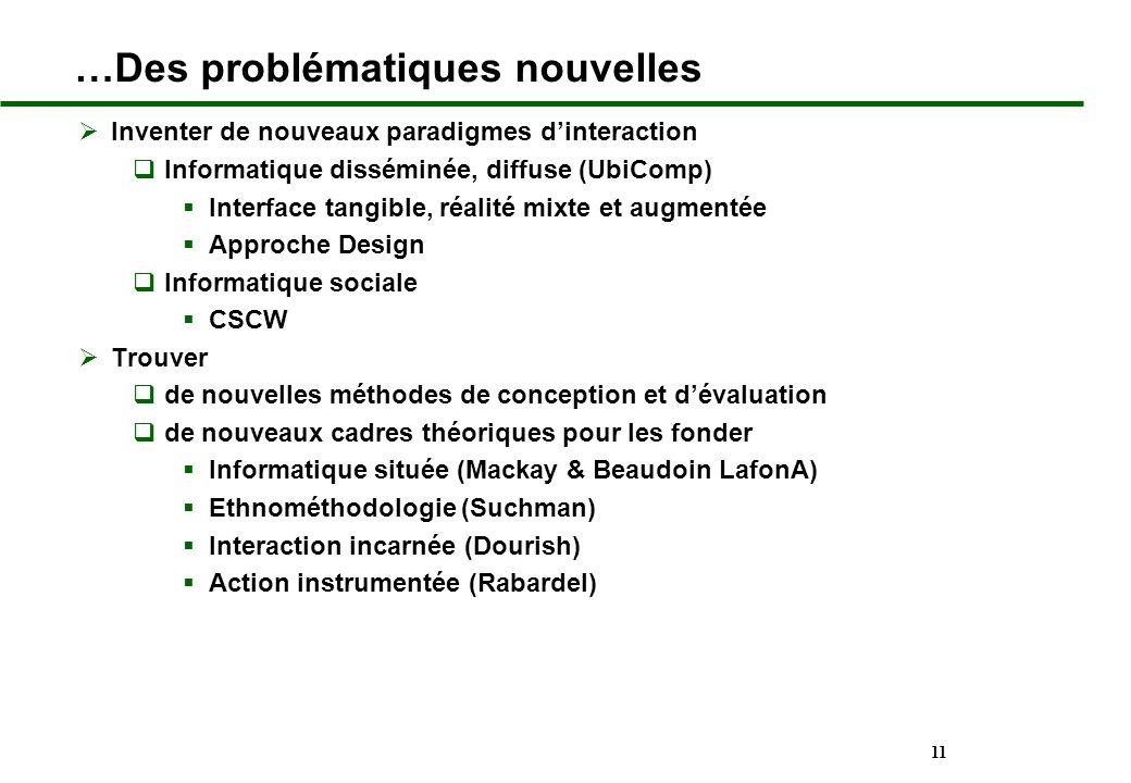 11 …Des problématiques nouvelles Inventer de nouveaux paradigmes dinteraction Informatique disséminée, diffuse (UbiComp) Interface tangible, réalité m