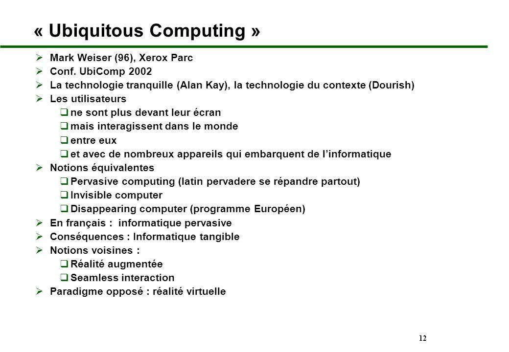 12 « Ubiquitous Computing » Mark Weiser (96), Xerox Parc Conf. UbiComp 2002 La technologie tranquille (Alan Kay), la technologie du contexte (Dourish)