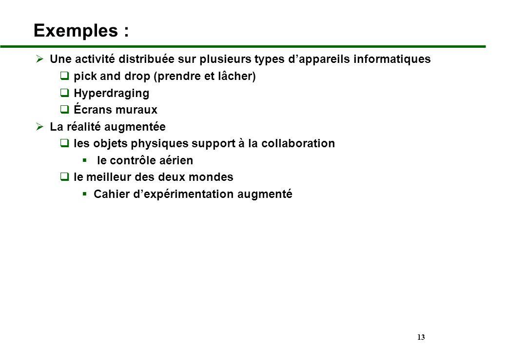 13 Exemples : Une activité distribuée sur plusieurs types dappareils informatiques pick and drop (prendre et lâcher) Hyperdraging Écrans muraux La réa
