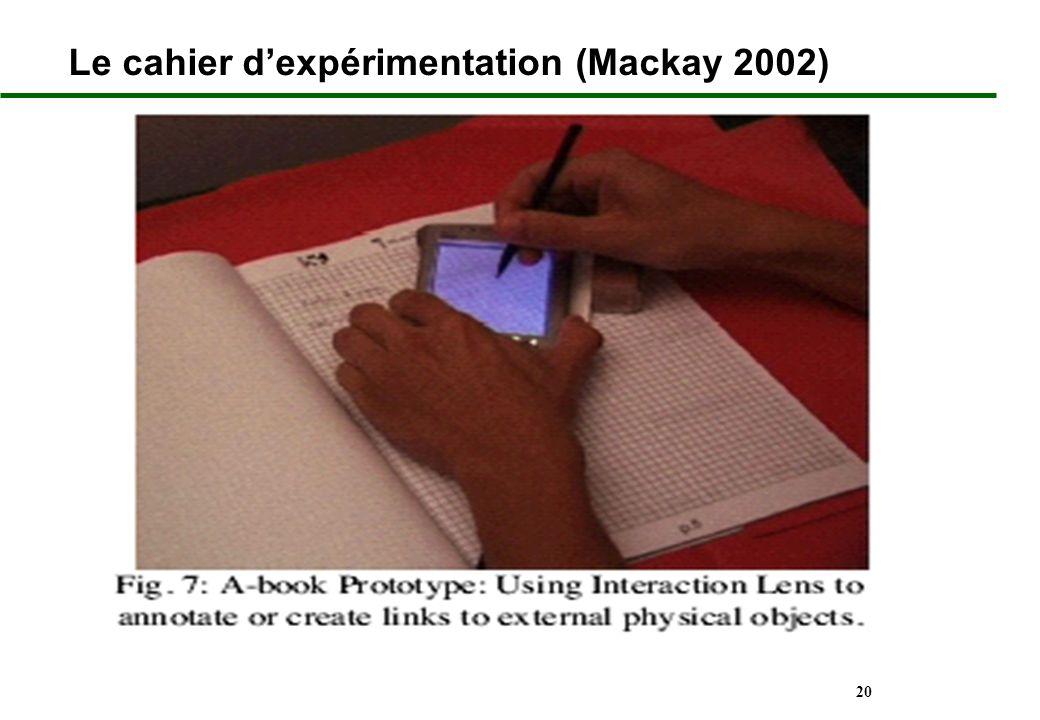 20 Le cahier dexpérimentation (Mackay 2002)