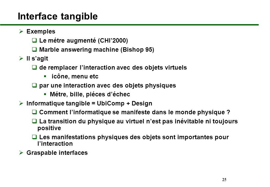 25 Interface tangible Exemples Le métre augmenté (CHI2000) Marble answering machine (Bishop 95) Il sagit de remplacer linteraction avec des objets vir