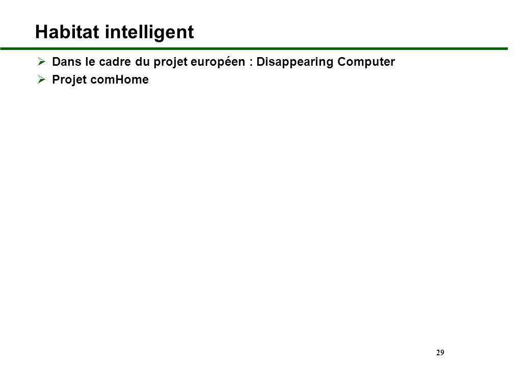 29 Habitat intelligent Dans le cadre du projet européen : Disappearing Computer Projet comHome