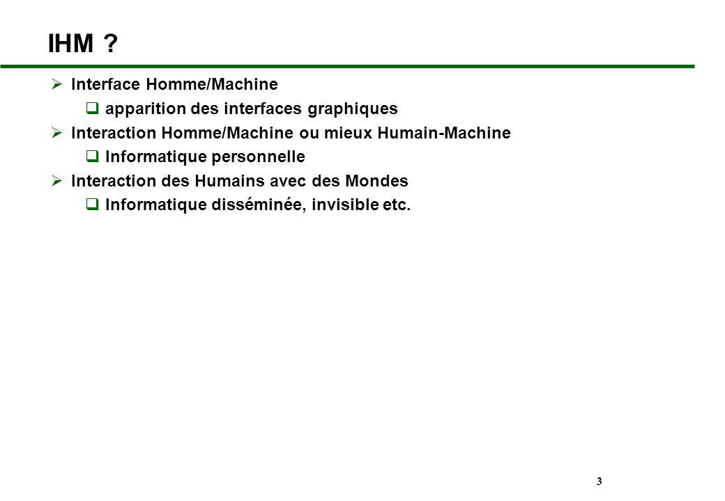 3 IHM ? Interface Homme/Machine apparition des interfaces graphiques Interaction Homme/Machine ou mieux Humain-Machine Informatique personnelle Intera