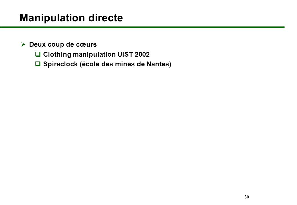 30 Manipulation directe Deux coup de cœurs Clothing manipulation UIST 2002 Spiraclock (école des mines de Nantes)