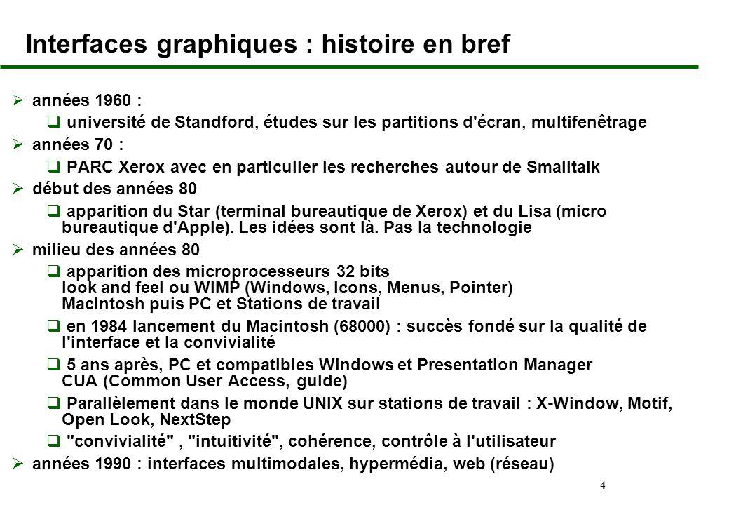 4 Interfaces graphiques : histoire en bref années 1960 : université de Standford, études sur les partitions d'écran, multifenêtrage années 70 : PARC X