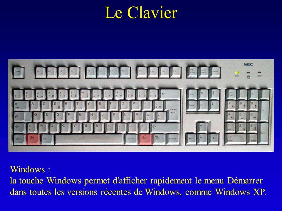 Le Clavier Windows : la touche Windows permet d'afficher rapidement le menu Démarrer dans toutes les versions récentes de Windows, comme Windows XP.