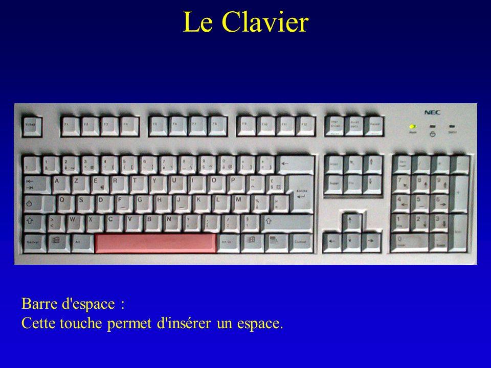 Le Clavier Barre d'espace : Cette touche permet d'insérer un espace.