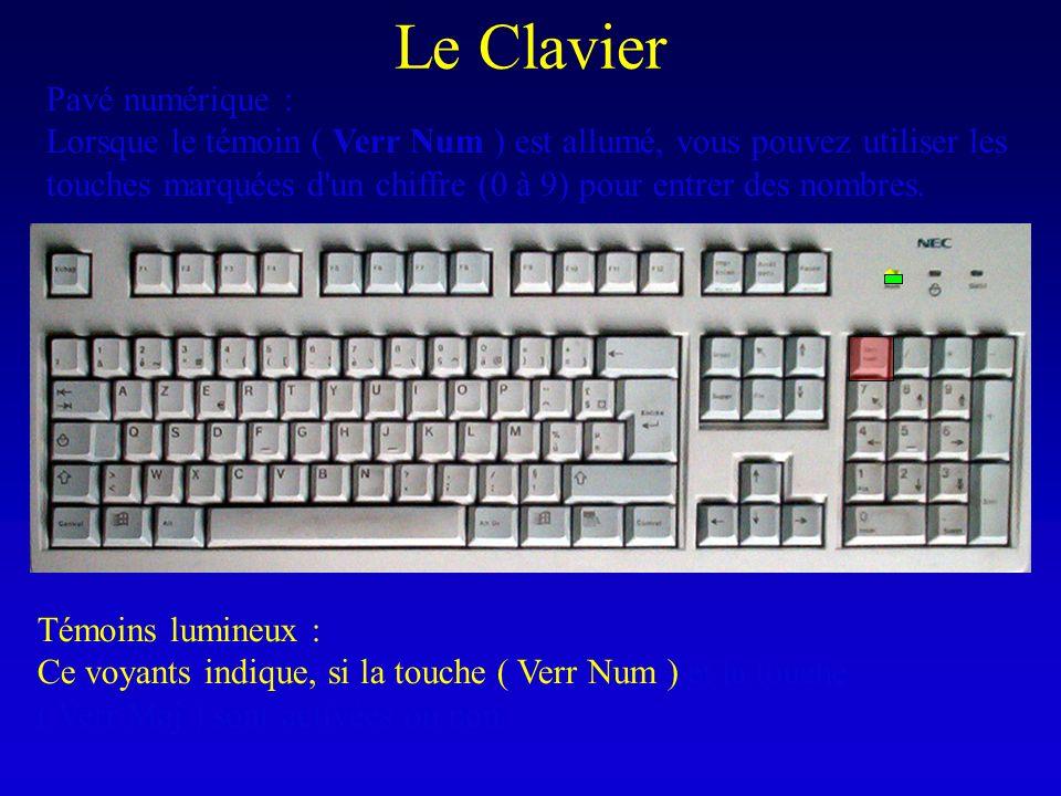 Le Clavier Témoins lumineux : Ce voyants indique, si la touche ( Verr Num ) et la touche ( Verr Maj ) sont activées ou non. Pavé numérique : Lorsque l