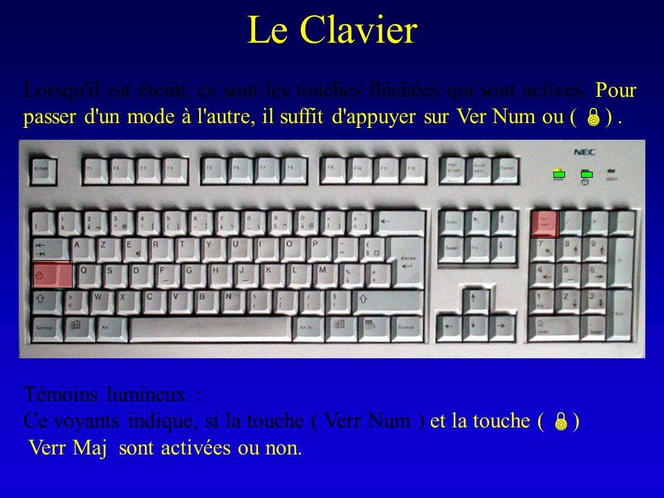 Le Clavier Témoins lumineux : Ce voyants indique, si la touche ( Verr Num ) et la touche ( ) Verr Maj sont activées ou non. Lorsqu'il est éteint, ce s