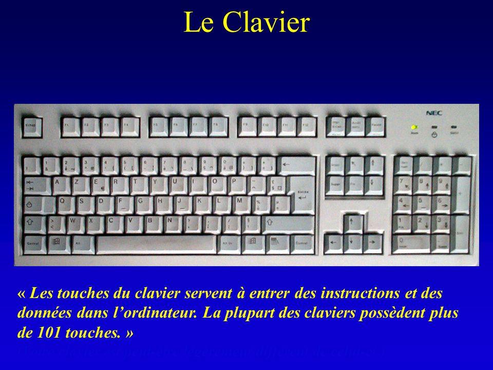 « Les touches du clavier servent à entrer des instructions et des données dans lordinateur. La plupart des claviers possèdent plus de 101 touches. » (