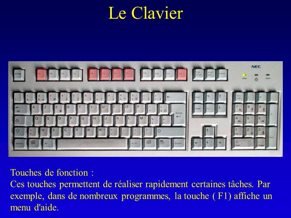 Le Clavier Touches de fonction : Ces touches permettent de réaliser rapidement certaines tâches. Par exemple, dans de nombreux programmes, la touche (
