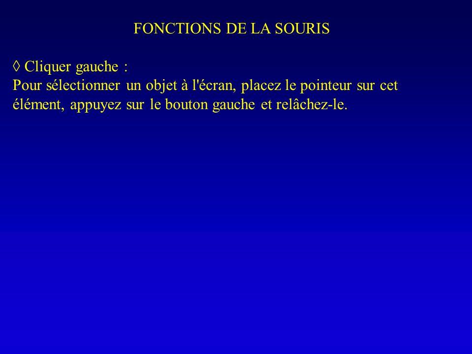 FONCTIONS DE LA SOURIS Cliquer gauche : Pour sélectionner un objet à l'écran, placez le pointeur sur cet élément, appuyez sur le bouton gauche et relâ