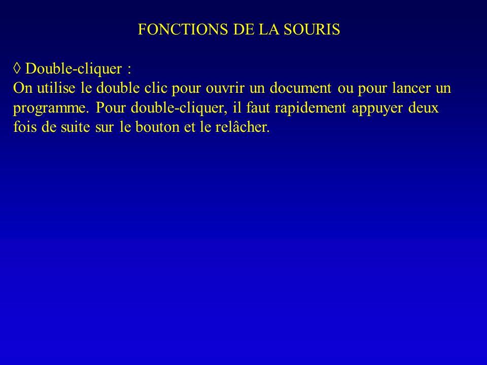 FONCTIONS DE LA SOURIS Double-cliquer : On utilise le double clic pour ouvrir un document ou pour lancer un programme. Pour double-cliquer, il faut ra