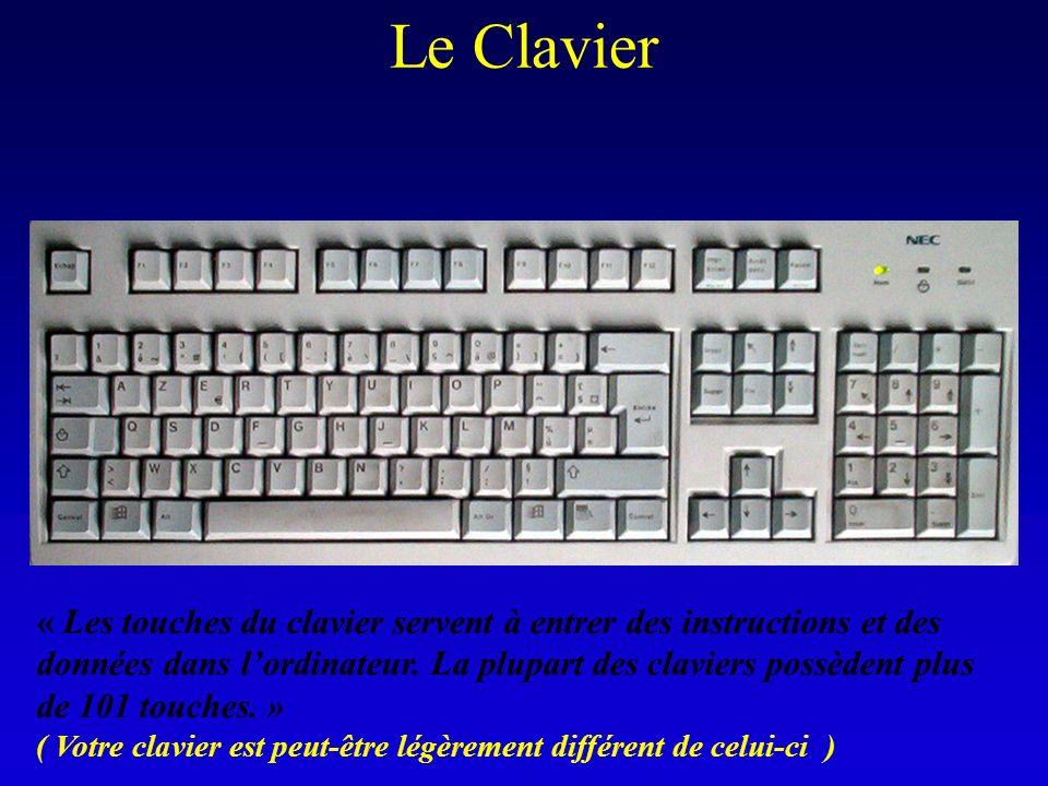 Le Clavier « Les touches du clavier servent à entrer des instructions et des données dans lordinateur. La plupart des claviers possèdent plus de 101 t