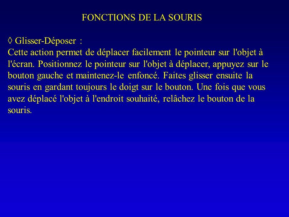 FONCTIONS DE LA SOURIS Glisser-Déposer : Cette action permet de déplacer facilement le pointeur sur l'objet à l'écran. Positionnez le pointeur sur l'o