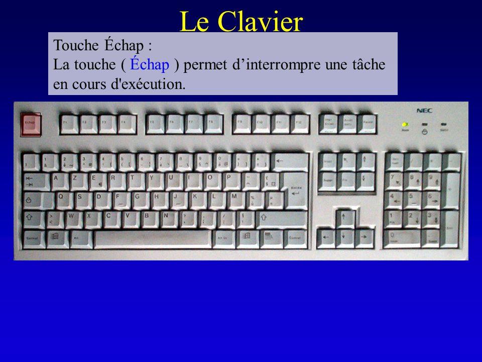 Le Clavier Touche Échap : La touche ( Échap ) permet dinterrompre une tâche en cours d'exécution.